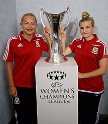 CARDIFF, WALES - Saturday, August 20, 2016: Wales Charlie Estcourt and Hannah Miles with the UEFA Women's Champions League trophy at the Vale Resort. The UEFA Champions League finals take place in Cardiff in May 2017. (Pic by David Rawcliffe/Propaganda)
