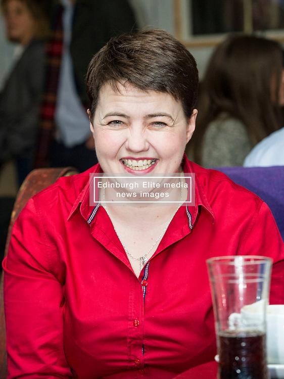 Pictured: <br /> <br /> The Scottish Conservative leader Ruth Davidson viisted the Raeburn Bar in Edinburgh today to have a word withvoters.  The Scottish Conservative leader also spoke with staff at the Raeburn Bar in Stockbridge. <br /> <br /> Ger Harley   EEm 27 April 2016