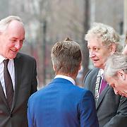 NLD/Amsterdam /20130413 - Heropening Rijksmuseum 2013 door Koningin Beatrix, Johan Remkes en Eberhard van der Laan in gesprek met directeur Wim Pijbes