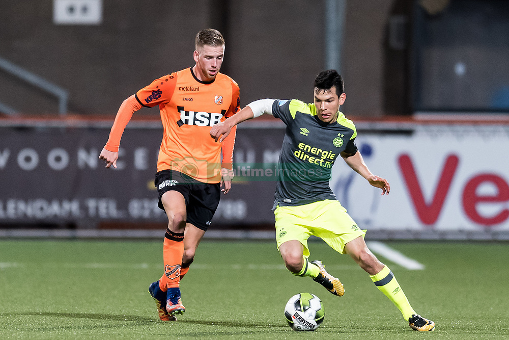 (L-R) Gijs Smal of FC Volendam, Hirving Lozano of PSV during the Second Round Dutch Cup match between FC Volendam and PSV Eindhoven at Kras stadium on October 26, 2017 in Volendam, The Netherlands