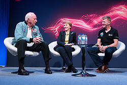© Licensed to London News Pictures. 28/09/2017. London, UK. NASA Apollo 15 American pilot Al Worden,  the first British astronaut in space, Helen Sharman and British European Space Astronaut Tim Peake appear for the first time on same stage at the New Scientist Live event.  The three legendary astronauts are from different era's. Photo credit: Ray Tang/LNP
