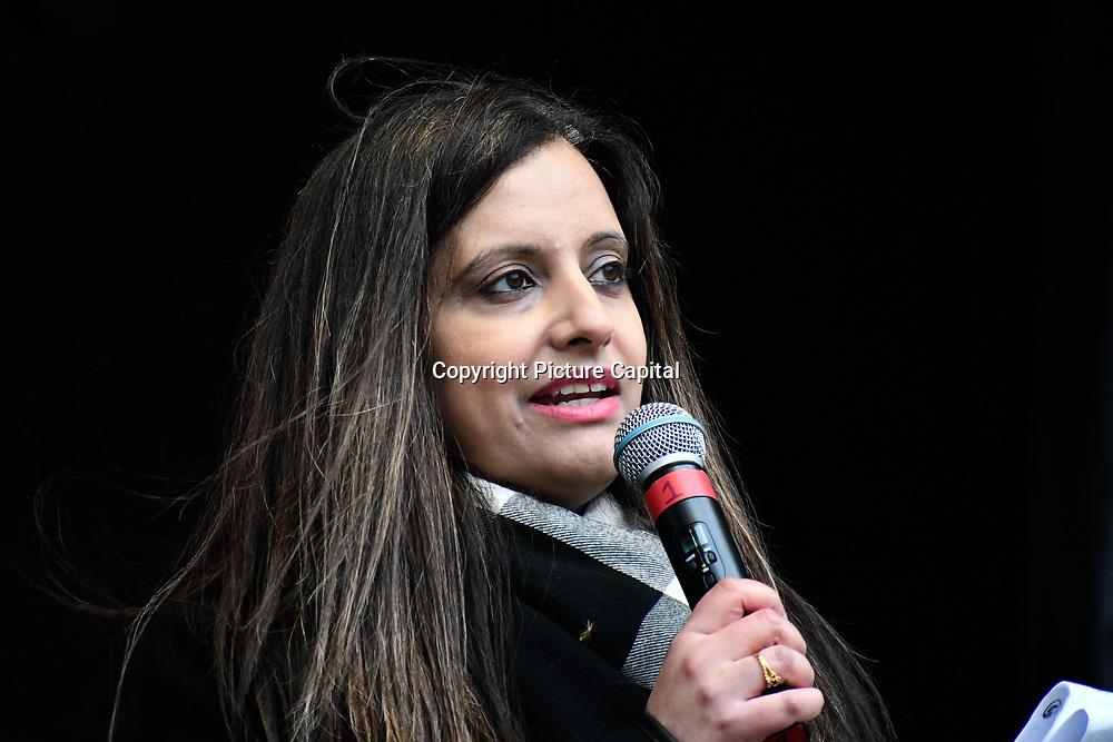 Speaker  Sabby Dhalu rally of a UN Anti-Racism Day Demonstration and march of  the horrific Islamophobic terrorist attack on a mosque in Christchurch, New Zealand, that has left 49 dead on 16 March 2019, opposite Downing Street, London, UK.