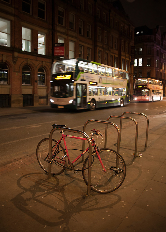 Various means of transport in Manchester, UK.