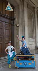 © Licensed to London News Pictures. 19/05/2015. London, UK. TEAvolution by Emergency Exit Arts. Launch of The Royal Greenwich Festivals 2015 at the Old Royal Naval College, Greenwich.  Photo credit : Bettina Strenske/LNP