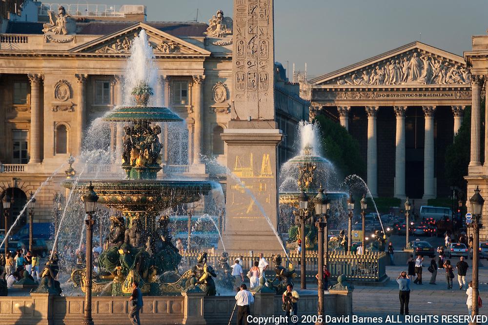 Fountain, Place de la Concorde, Church of the Madeleine, Paris, France