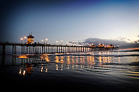 2 November 2013:  Northside of the Huntington Beach Pier after sunset at low tide.