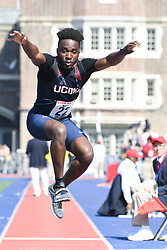 April 28, 2018 - Philadelphia, Pennsylvania, U.S - IVAN NYEMECK (22) of the UConn in action during the CM triple jump at the 124th running of the Penn Relays in Philadelphia Pennsylvania (Credit Image: © Ricky Fitchett via ZUMA Wire)