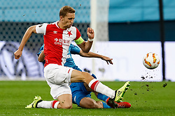 October 4, 2018 - Saint Petersburg, Russia - Aleksandr Erokhin of FC Zenit Saint Petersburg and Tomas Soucek (in front) of SK Slavia Prague vie for the ball during the Group C match of the UEFA Europa League between FC Zenit Saint Petersburg and SK Slavia Prague at Saint Petersburg Stadium on October 4, 2018 in Saint Petersburg, Russia. (Credit Image: © Mike Kireev/NurPhoto/ZUMA Press)