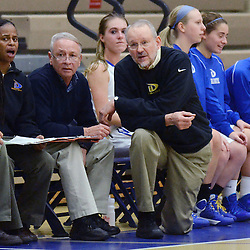 Staff photos by Tom Kelly IV<br /> East head coach Bob Schnure (right) and his assistant coaches on the sideline during the Bishop Shanahan at Downingtown East girls basketball game, Thursday night December 18, 2013.