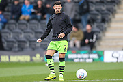 Forest Green Rovers Liam Shephard(2) warming up during the EFL Sky Bet League 2 match between Forest Green Rovers and Plymouth Argyle at the New Lawn, Forest Green, United Kingdom on 16 November 2019.