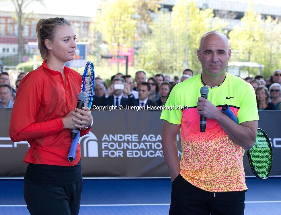 Andre Agassi vs Maria Sharapova Exhibition match, <br /> Tennis - Porsche Grand Prix - WTA -   - Stuttgart -  - Germany  - 21 April 2015. <br /> &copy; Juergen Hasenkopf