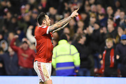 Nottingham Forest forward Lee Tomlin (15) celebrates after scoring a goal to make it 1-1 during the EFL Sky Bet Championship match between Nottingham Forest and Reading at the City Ground, Nottingham, England on 20 February 2018. Picture by Jon Hobley.