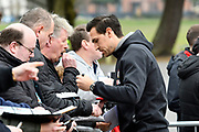 Charlie Daniels (11) of AFC Bournemouth signing autographs on arrival before the Premier League match between Bournemouth and Tottenham Hotspur at the Vitality Stadium, Bournemouth, England on 11 March 2018. Picture by Graham Hunt.