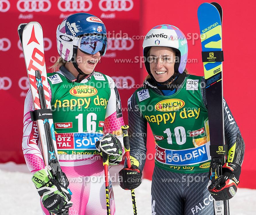 22.10.2016, Rettenbachferner, Soelden, AUT, FIS Weltcup Ski Alpin, Soelden, Riesenslalom, Damen, 2. Durchgang, im Bild Mikaela Shiffrin (USA, 2. Platz), Marta Bassino (ITA, 3. Platz) // 2nd placed Mikaela Shiffrin of the USA third placed Marta Bassino of Italy reacts after her 2nd run of ladies Giant Slalom of the FIS Ski Alpine Worldcup opening at the Rettenbachferner in Soelden, Austria on 2016/10/22. EXPA Pictures © 2016, PhotoCredit: EXPA/ Johann Groder