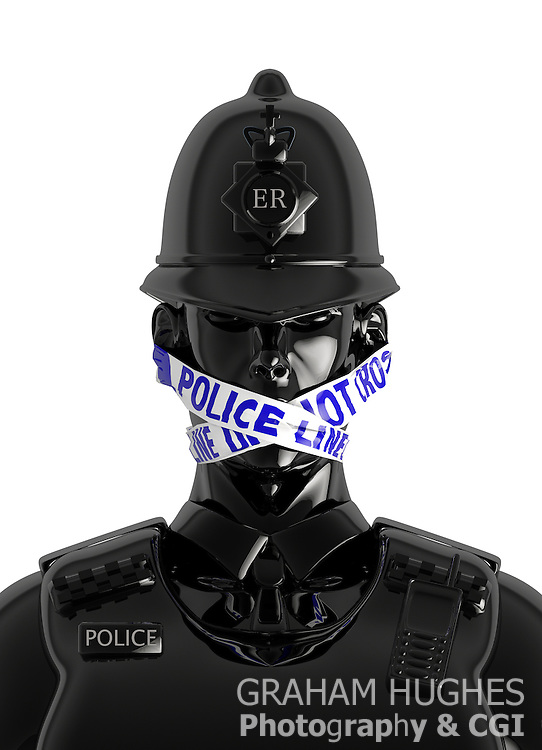 "UK Policeman Wearing Gag of ""Police Line Do Not Cross"" Tape over mouth; Symbolising Police fear of talking to press after Leveson Inquiry."