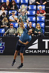 October 4, 2018 - St. Louis, Missouri, U.S - MARK PHILIPPOUSSIS with the serve during the Invest Series True Champions Classic on Thursday, October 4, 2018, held at The Chaifetz Arena in St. Louis, MO (Photo credit Richard Ulreich / ZUMA Press) (Credit Image: © Richard Ulreich/ZUMA Wire)