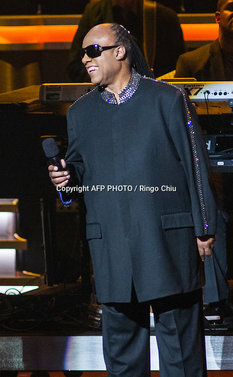 Honoree Stevie Wonder speaks onstage during a concert, Stevie Wonder: Songs In The Key Of Life - An All-Star GRAMMY Salute, at Nokia Theatre L.A. Live on February 10, 2015 in Los Angeles, California. AFP PHOTO / Ringo Chiu