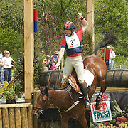 Graeme Thom and Arrow fall on cross-country at the 2005 Jersey Fresh Horse Trials in Allentown, NJ.