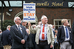 Dr Pat Crowley from Kilkenny and Dr Bill Moore from Waterford are pictured as for the first time in the history of the state, GPs have been motivated to protest as patient safety is now at risk. GPs (as part of NAGP/ National Association of General Practitioners) outside Leinster House. Picture Andres Poveda