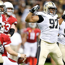 Sep 22, 2013; New Orleans, LA, USA; New Orleans Saints defensive end Glenn Foster (97) celebrates with the defense following a sack against the Arizona Cardinals during the second half of a game at Mercedes-Benz Superdome. The Saints defeated the Cardinals 31-7. Mandatory Credit: Derick E. Hingle-USA TODAY Sports