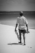 Out hunting for crabs in the sand off the coast of Mozambique