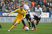 Preston North End Forward, Tom Barkhuizen (29)  battles for possession during the EFL Sky Bet Championship match between Bolton Wanderers and Preston North End at the Macron Stadium, Bolton, England on 3 March 2018. Picture by Mark Pollitt.
