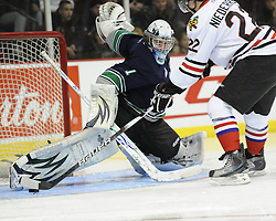 Calvin Pickard of the Seattle Thunderbirds stops Nino Niederreiter of the Portland Winterhawksin the Home Hardware CHL Top Prospects Skills Competition in Windsor, ON on Tuesday. Photo by Aaron Bell/OHL Images.