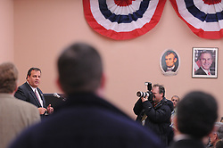 Hackensack, NJ: Tue, Jan. 13, 2009: .---.Chris Christie, the former United States Attorney, is already out and about , campaigning for New Jersey Governor . But first he has to win the Republican Primary. Here, he speaks to the Bergen County GOP committee. 339 Main Street, Hackensack, NJ.---.ROB BENNETT for The New York Times