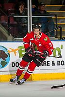KELOWNA, CANADA - JANUARY 21: Caleb Jones #3 of the Portland Winterhawks skates against the Kelowna Rockets on January 21, 2017 at Prospera Place in Kelowna, British Columbia, Canada.  (Photo by Marissa Baecker/Getty Images)  *** Local Caption *** Caleb Jones;