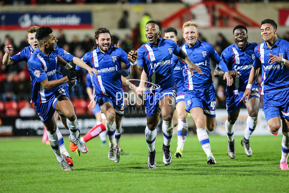 Gillingham's Ryan Jackson celebrates scoreng his teams 3rd goal during the Sky Bet League 1 match between Swindon Town and Gillingham at the County Ground, Swindon, England on 26 December 2015. Photo by Shane Healey.