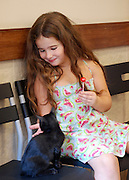 Vet's Clinic, for pets and small animals. Young girl of 10 brings her pet cat for a checkup