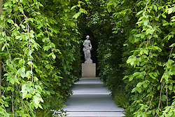 Weeping hornbeam arbour leading to statue of Hygiea in the Laurent-Perrier Garden. Design: Tom Stuart-Smith - Chelsea 2005
