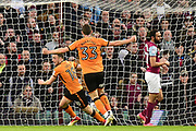 Wolverhampton Wanderers striker (on loan from Athletic Madrid) Diogo Jota (18) scores a goal from open play 1-1 during the EFL Sky Bet Championship match between Aston Villa and Wolverhampton Wanderers at Villa Park, Birmingham, England on 10 March 2018. Picture by Dennis Goodwin.