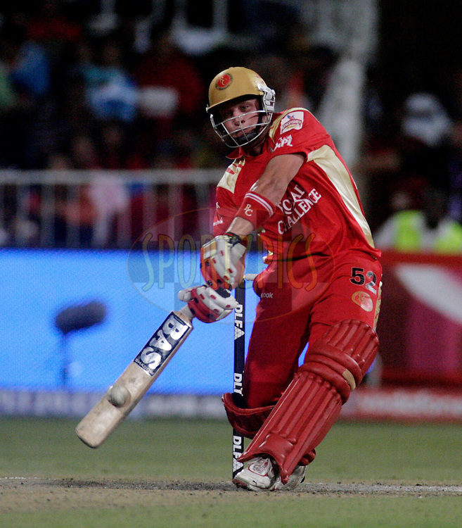 DURBAN, SOUTH AFRICA - 1 May 2009. Roelof van der Merwe plays a shot during the IPL Season 2 match between Kings X1 Punjab and the Royal Challengers Bangalore held at Sahara Stadium Kingsmead, Durban, South Africa..