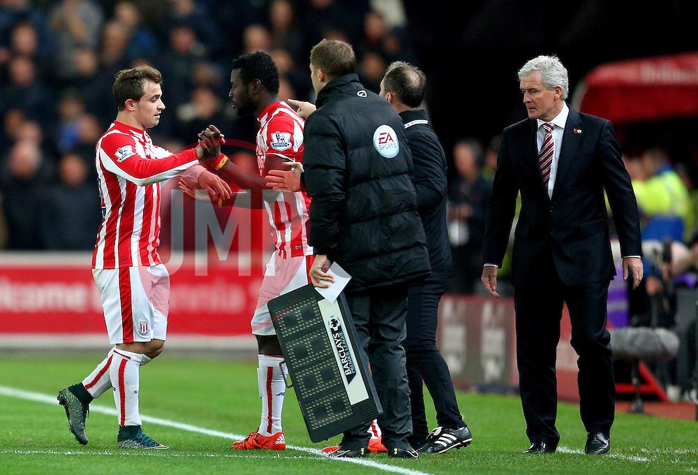 Xherdan Shaqiri of Stoke City is replaced by Mame Biram Diouf - Mandatory byline: Matt McNulty/JMP - 07966 386802 - 07/11/2015 - FOOTBALL - Britannia Stadium - Stoke-On-Trent, England - Stoke City v Chelsea - Barclays Premier League