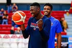 Daniel Edozie of Bristol Flyers and Marcus Delpeche of Bristol Flyers - Photo mandatory by-line: Ryan Hiscott/JMP - 19/10/2018 - BASKETBALL - SGS Wise Arena - Bristol, England - Bristol Flyers v Plymouth Raiders - British Basketball League Championship