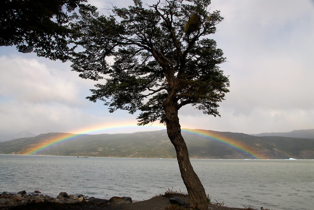 Rainbow over Lago Grey in Torres Del Paine National Park, Patagonia, Chile.