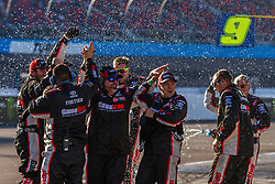 November 10, 2018 - PHOENIX, AZ - NOVEMBER 10: the pit crew for Christopher Bell, driver of the #20 GameStop Just Cause 4 Toyota celebrate after winning the NASCAR Xfinity Whelen Trusted to Perform 200 at ISM Raceway on November 10, 2018 in Phoenix, Arizona. (Credit Image: © Doug James/ZUMA Wire)