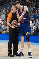 FC Barcelona Lassa Ante Tomic talking with the referee during Turkish Airlines Euroleague match between Real Madrid and FC Barcelona Lassa at Wizink Center in Madrid, Spain. December 14, 2017. (ALTERPHOTOS/Borja B.Hojas)