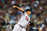 Jeff Manship (49) of the Minnesota Twins pitches against the Tampa Bay Rays on August 10, 2012 at Target Field in Minneapolis, Minnesota.  The Rays defeated the Twins 12 to 6.  Photo: Ben Krause