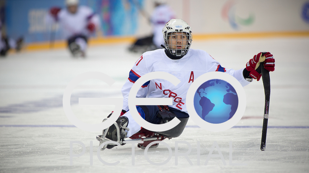 Ice-sled Hockey: 2014 Sochi Winter Paralympics: #17 Loyd-Remi Pallander Solberg of Norway in action during the Men's Ice-sled Hockey opening round match against Czech Republic at the Shayba Arena; Sochi Olympic Park, Russia 08/03/2014; <br /> PHOTO CREDIT: &copy; George S Blonsky
