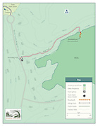 Vector map illustration of the The Bog Preserve of the Simsbury Land Trust in Connecticut. The maps shows the various trails and areas of interest of the preserve.