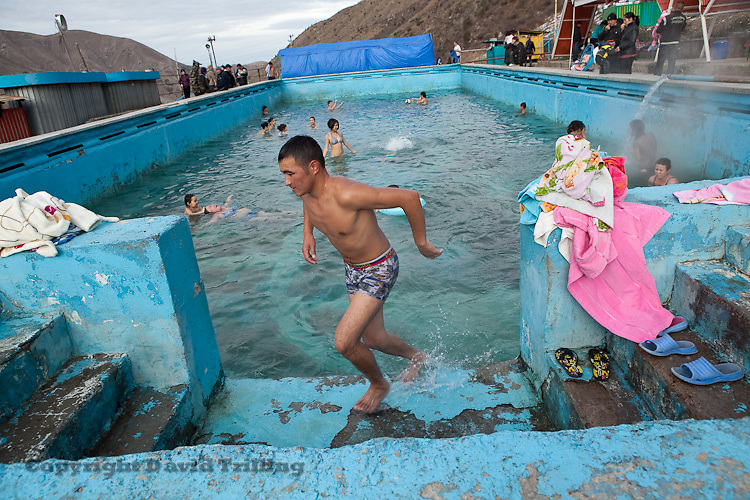 Air temperatures in the single digits don't deter swimmers at the Issyk-Ata hot springs in northern Kyrgyzstan. The malodorous, sulfur-infused water lures weekenders of all ages to the Soviet-era sanatorium some two hours from Bishkek..November 2010