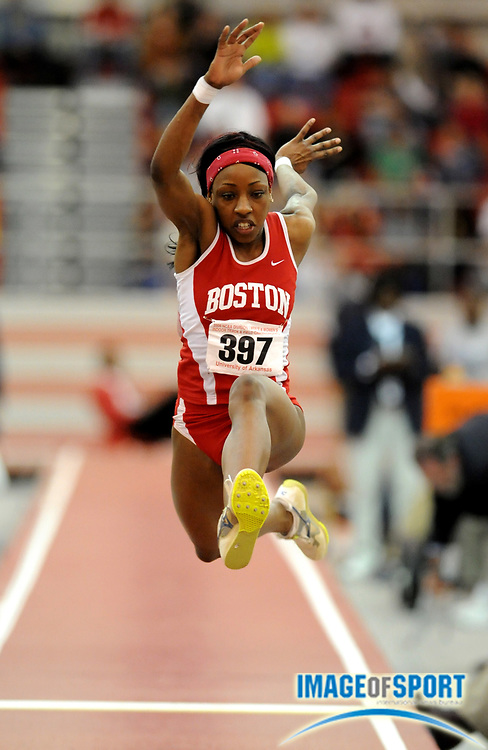 Mar 15, 2008; Fayetteville, AR, USA; Tahari James of Boston University was sixth in the women's triple jump at 44-0 1/2 (13.42m) in the NCAA indoor track and field championships at the Randal Tyson Center.