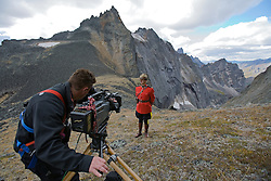 Filming a Mountie dressed in RCMP Red Serge in the Tombstone Mountains, Yukon