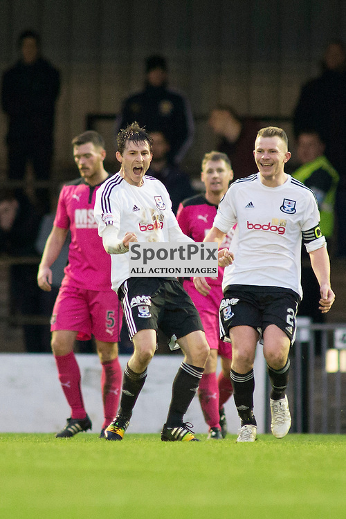 Michael Donald scoring the second goal in the Ayr United v Airdrieonians Somerset Park Ayr 21 November 2015<br />
