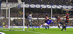 LIVERPOOL, ENGLAND - Saturday, January 4, 2014: Everton's Nikica Jelavic scores the third goal against Queens Park Rangers during the FA Cup 3rd Round match at Goodison Park. (Pic by David Rawcliffe/Propaganda)