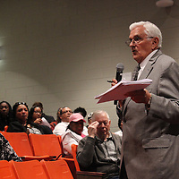 RAY VAN DUSEN/BUY AT PHOTOS.MONROECOUNTYJOURNAL.COM<br /> Dr. Harold Fisher, who conducts superintendent searches for the Mississippi School Boards Association, prepares to turn the microphone over to members of the Aberdeen community for input on qualities they'd like for the school district's new superintendent.