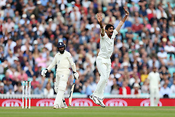 India's Jasprit Bumrah celebrates taking the wicket with a lbw of England's Adil Rashid during the test match at The Kia Oval, London.