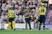Andrew Salter of Glamorgan stands as James Vince hits a boundary during the NatWest T20 Blast South Group match between Hampshire County Cricket Club and Glamorgan County Cricket Club at the Ageas Bowl, Southampton, United Kingdom on 10 August 2017. Photo by Dave Vokes.
